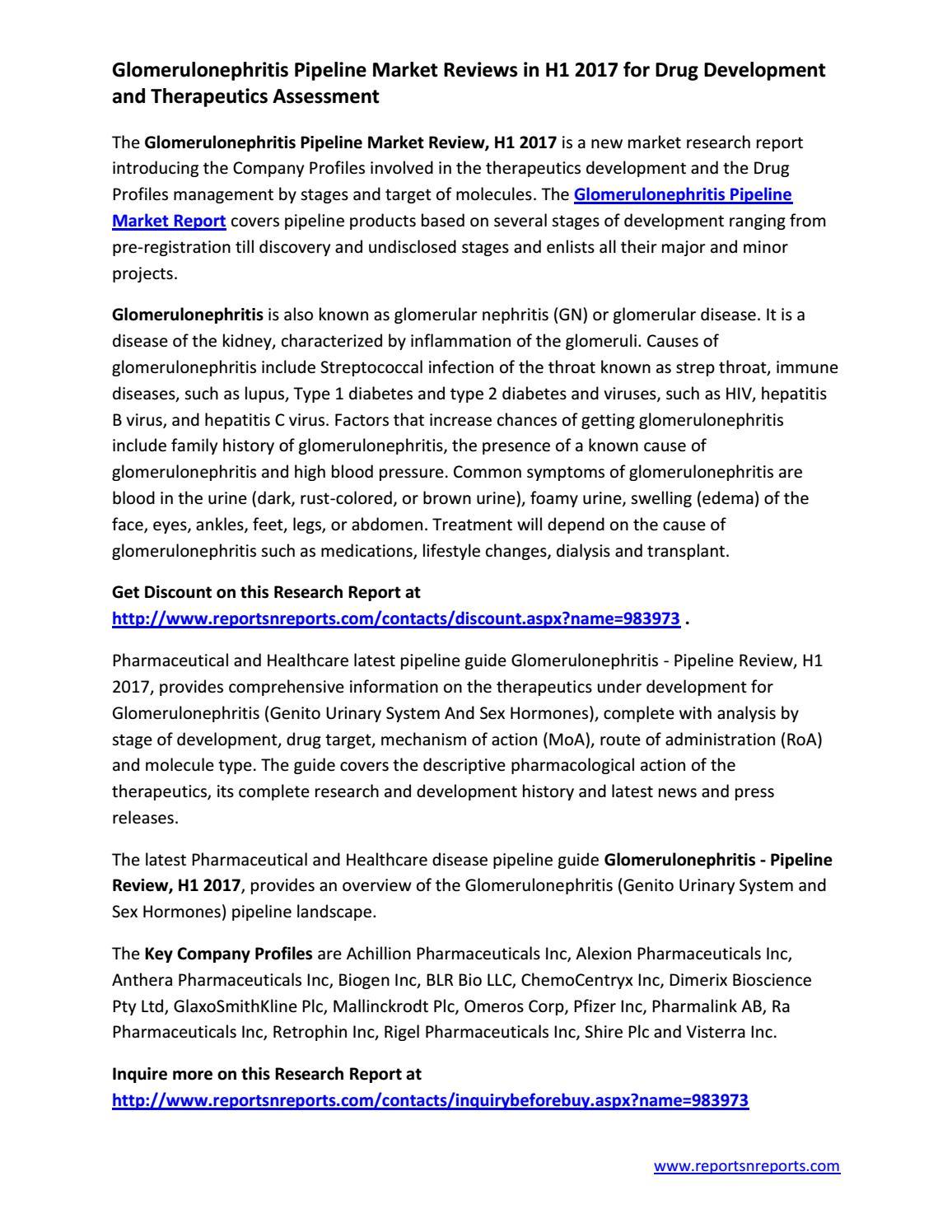 Glomerulonephritis Pipeline Therapeutics Market Report for