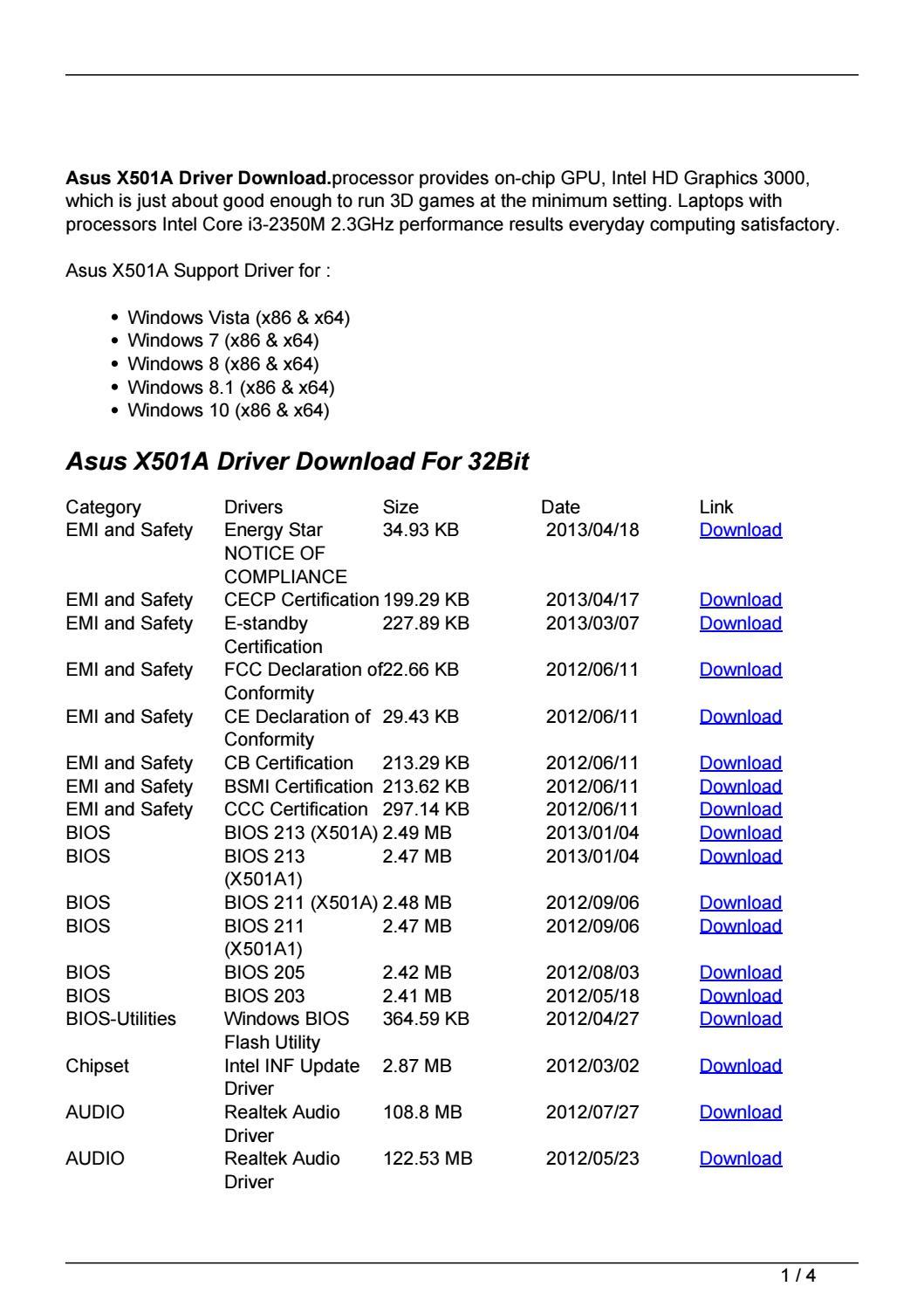 Asus X501A Notebook Intel Rapid Storage Technology 64 BIT Driver