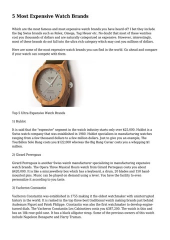 5 Most Expensive Watch Brands By Liamurso699 Issuu