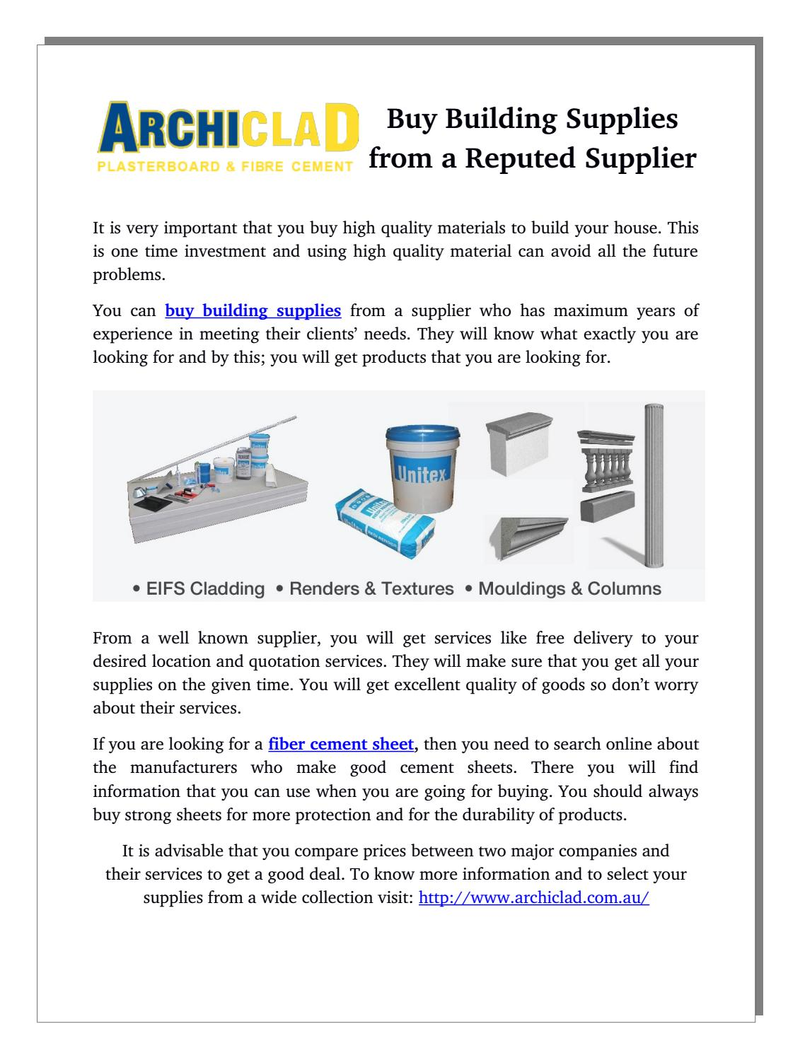 Buy building supplies from a reputed supplier by Building