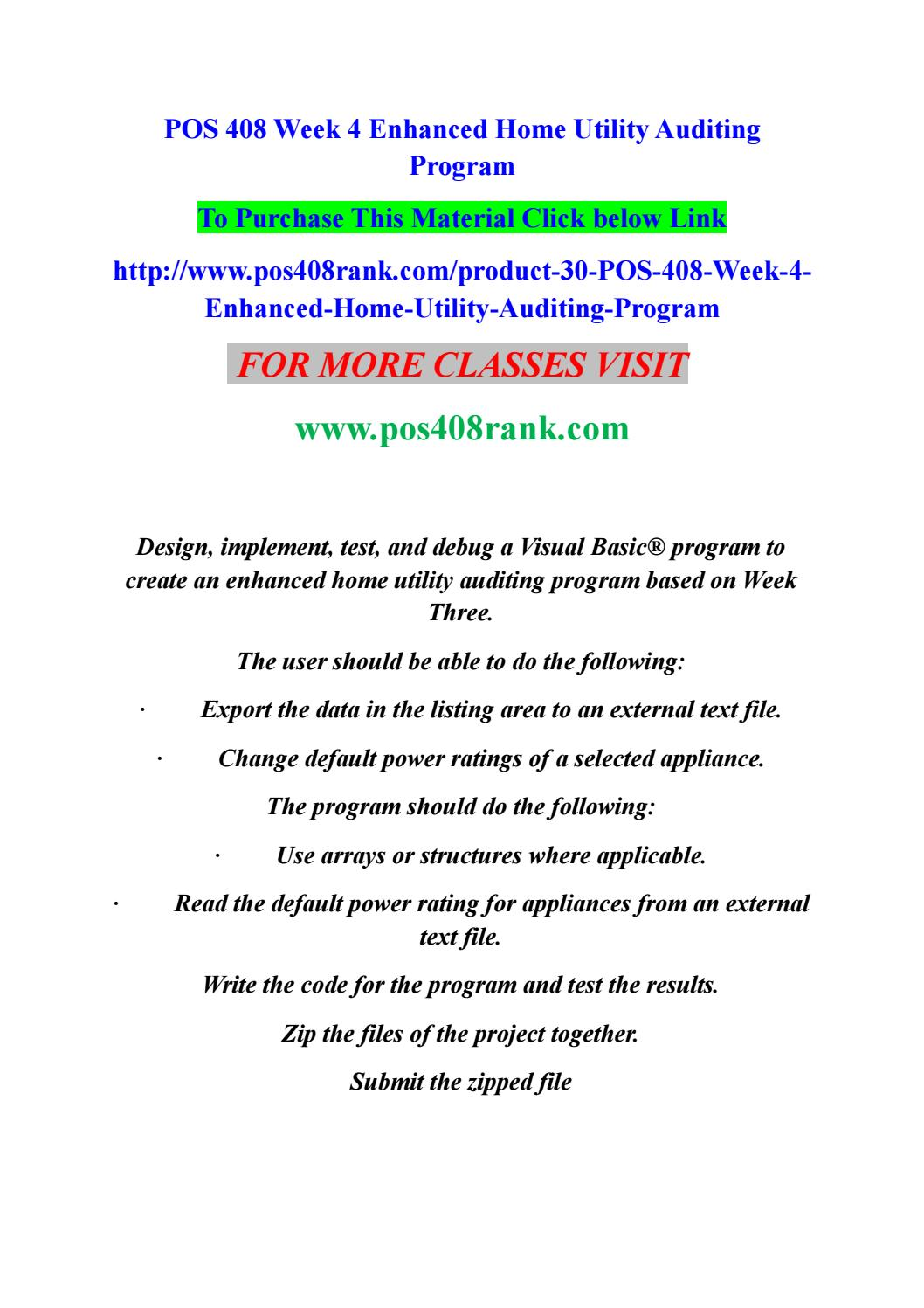 Pos 408 week 4 enhanced home utility auditing program by David2b - issuu