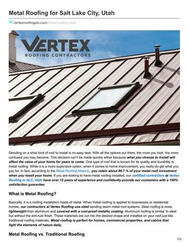 Metal Roofing For Salt Lake City Utah By Vertex Roofing