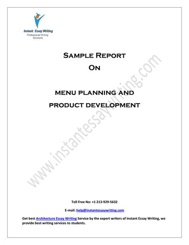 sample on menu planning and product development by instant essay  page 1