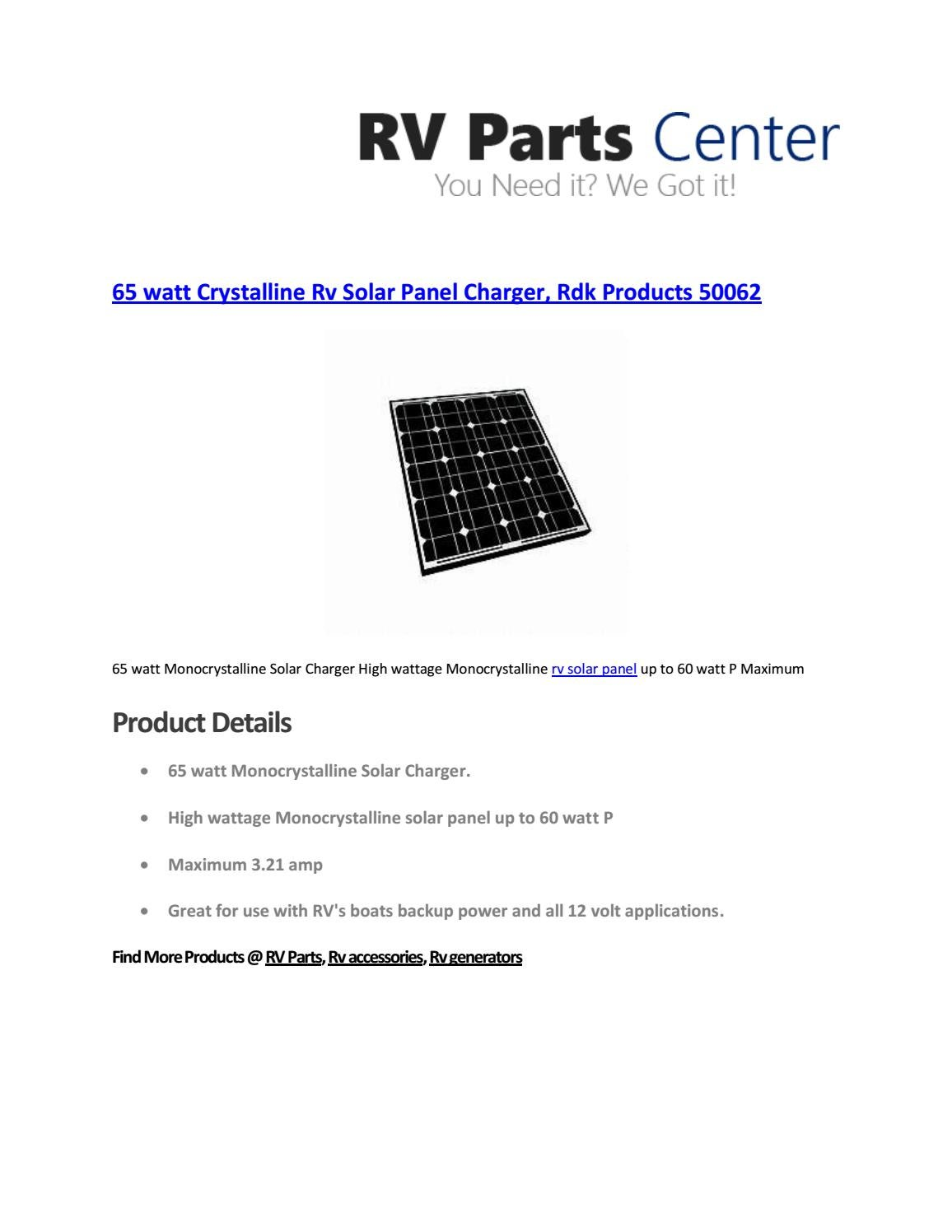 65 watt Crystalline RV Solar Panel Charger, rdk products
