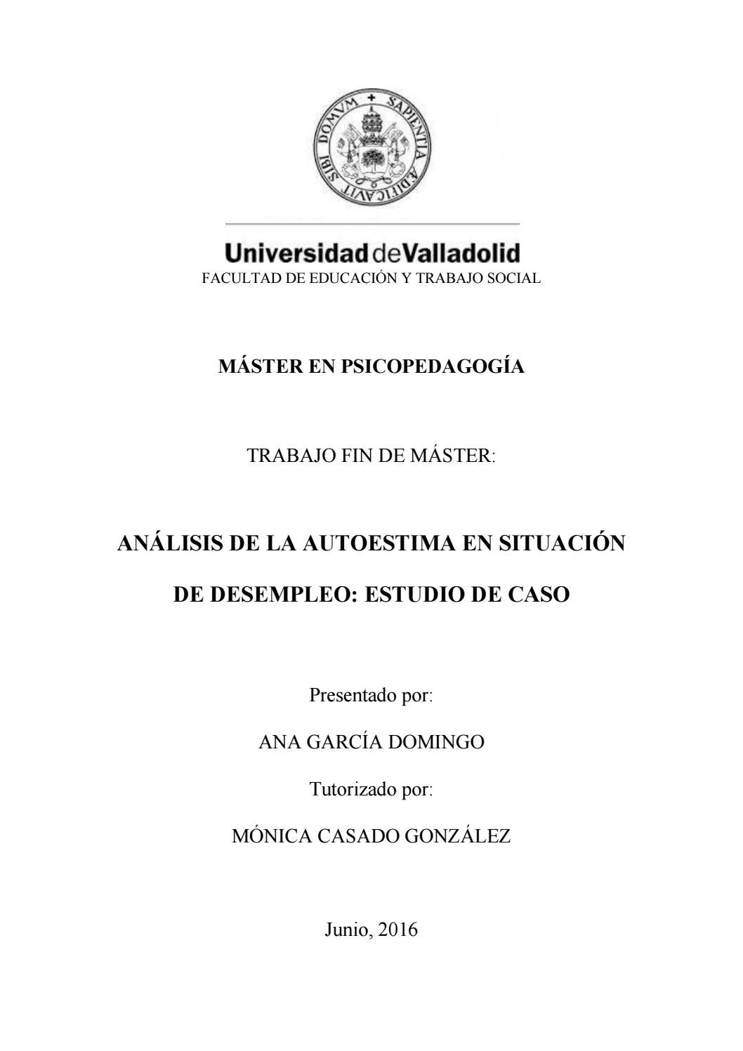 ANÁLISIS DE LA AUTOESTIMA EN SITUACIÓN DE DESEMPLEO: ESTUDIO DE CASO ...