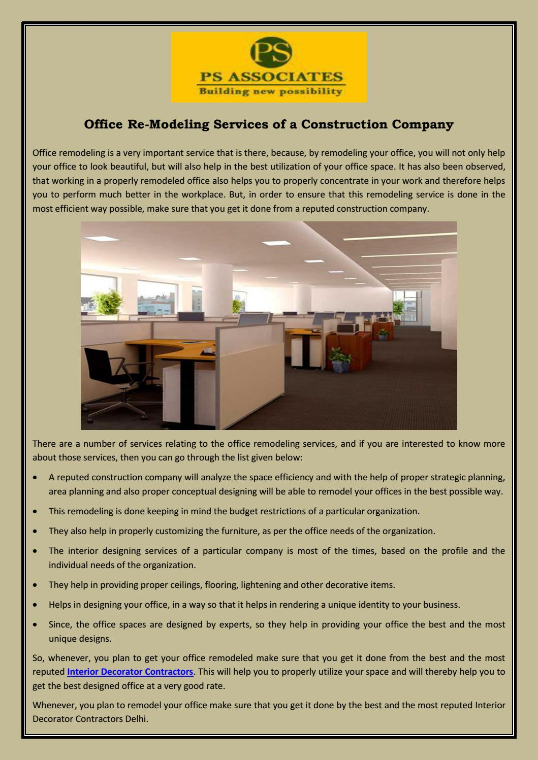 Office Re Modeling Services Of A Construction Company By Ps Group