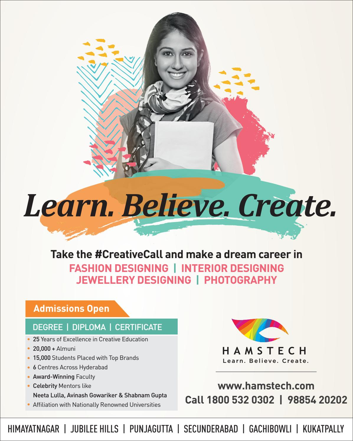 Your Creative Career Is Waiting At Hamstech Institute Join Now By Sukesh Issuu