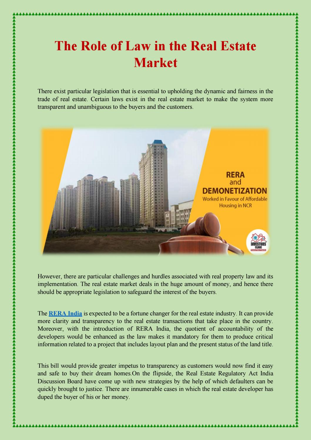 The role of law in the real estate market by Anushka Chaudhary - issuu