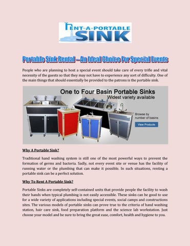 Portable Sink Rental An Ideal Choice For Special Events By
