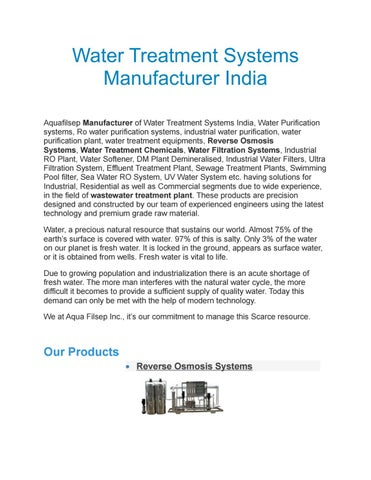 Water treatment systems manufacturer india by Aqua Fillsep