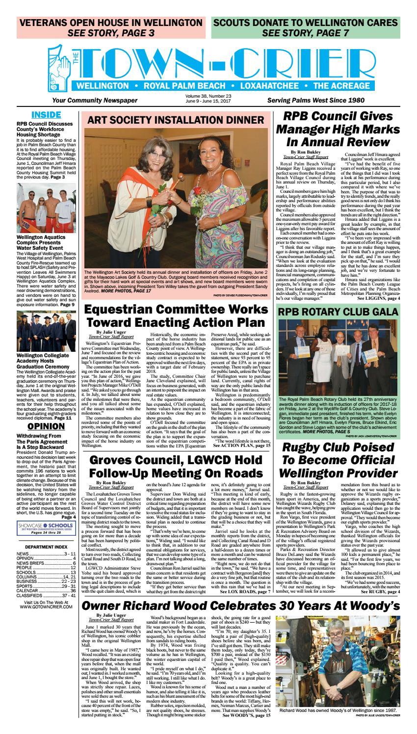 Town Crier Newspaper June 9 2017 By Wellington The Magazine LLC