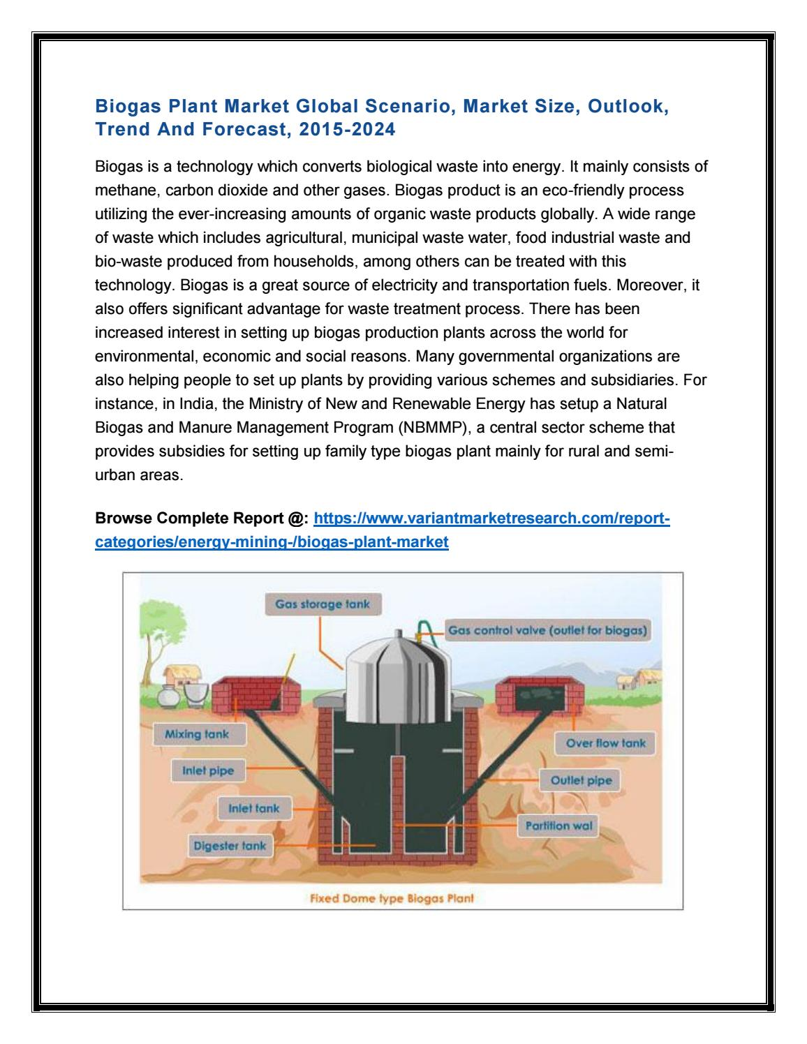 Biogas Plant Market Global Scenario Size Outlook Trend And Large Bio Gas Diagram Forecast 2015 2024 By Variantmarketresearch Issuu