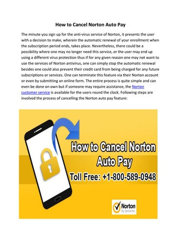 How to cancel norton automatic renewal