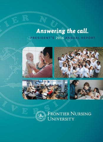 2016 frontier nursing university presidents report by frontier answering the call president x20acx2122 s 2016 annual report urtaz Choice Image
