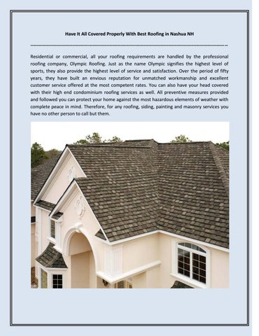 Have It All Covered Properly With Best Roofing In Nashua NH ...