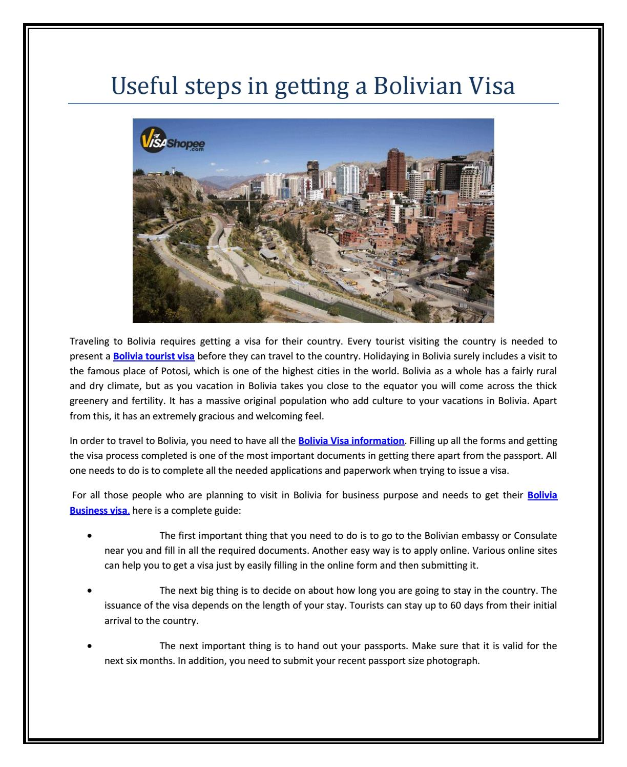Useful Steps In Getting A Bolivian Visa By Touristvisaservices Issuu