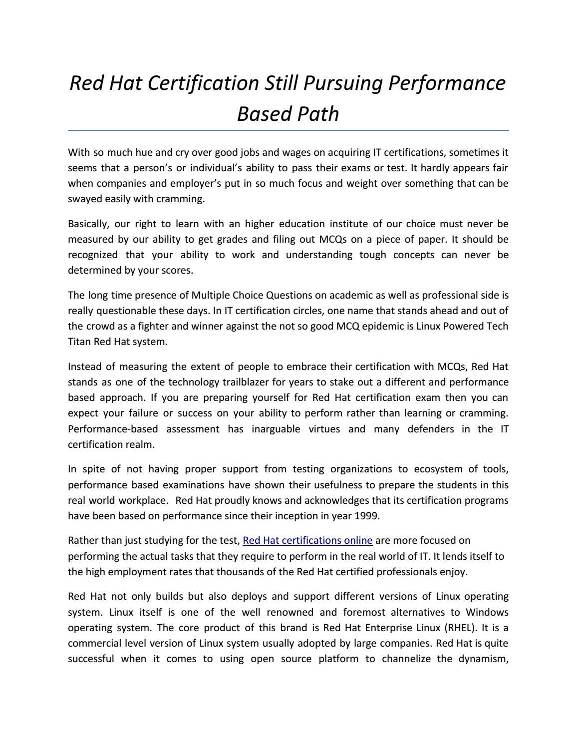 Red hat certification still pursuing performance based path by rst red hat certification still pursuing performance based path by rst forum issuu xflitez Images