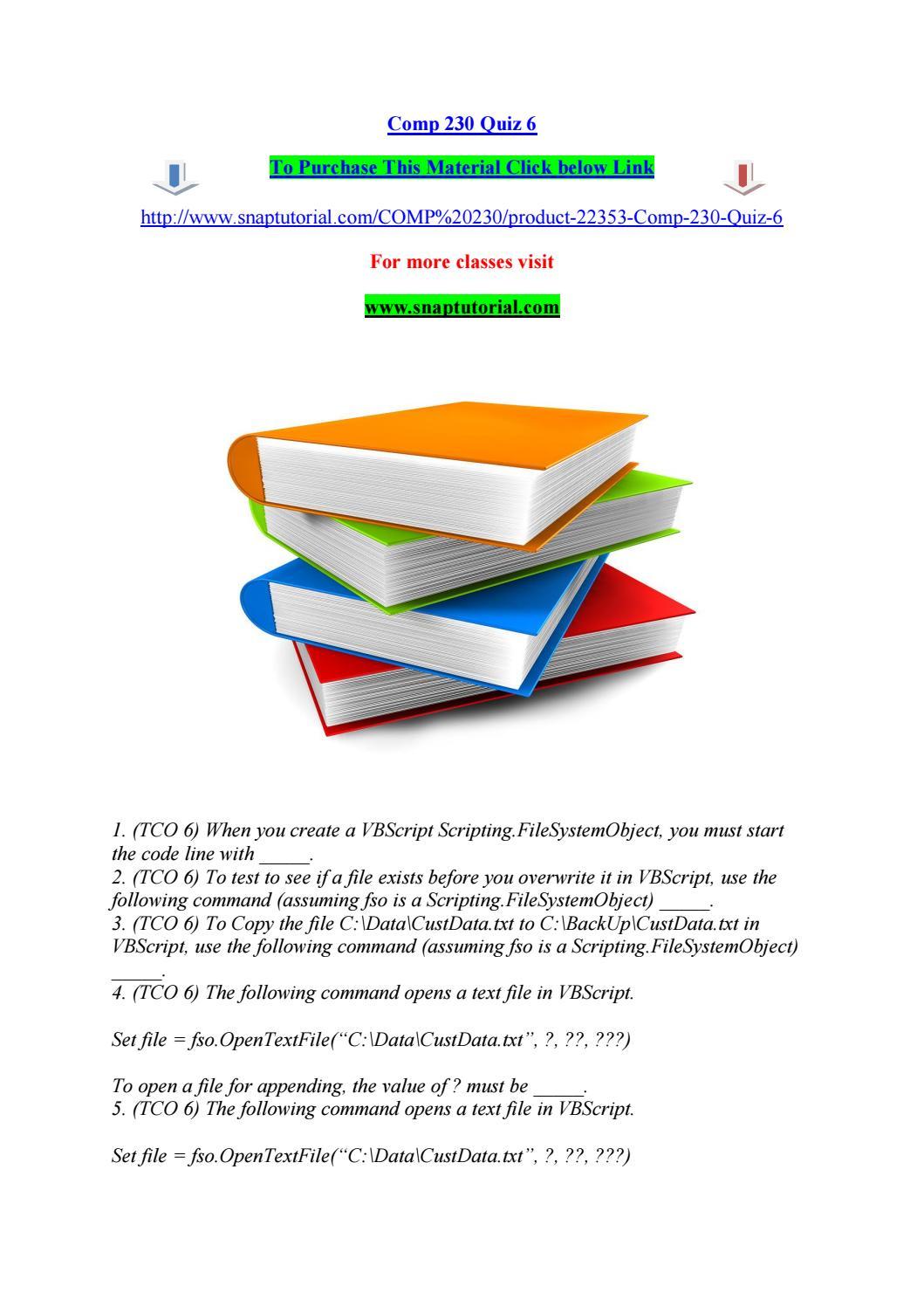 Comp 230 quiz 6 by pinck238 - issuu