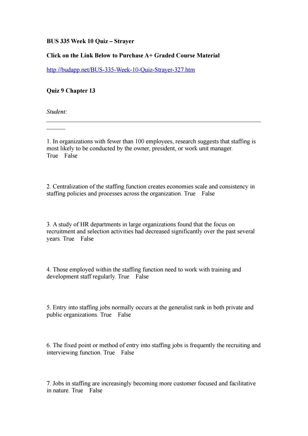 Bus 335 staffing organizations week 10 quiz by