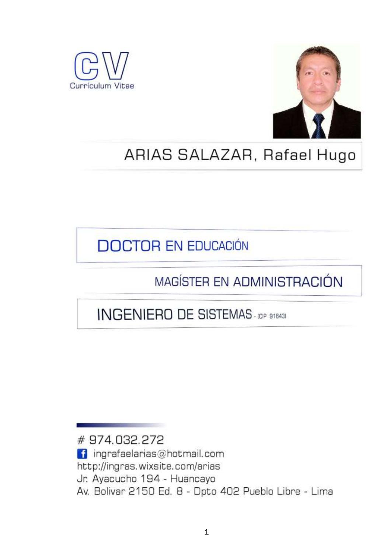 Cv arias 2017 by Rafael Arias - issuu