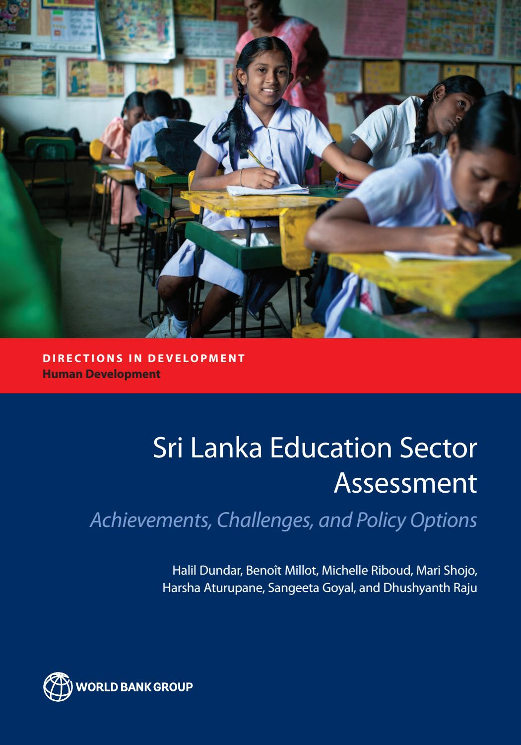 Sri Lanka Education Sector Assessment By World Bank Group Publications Issuu