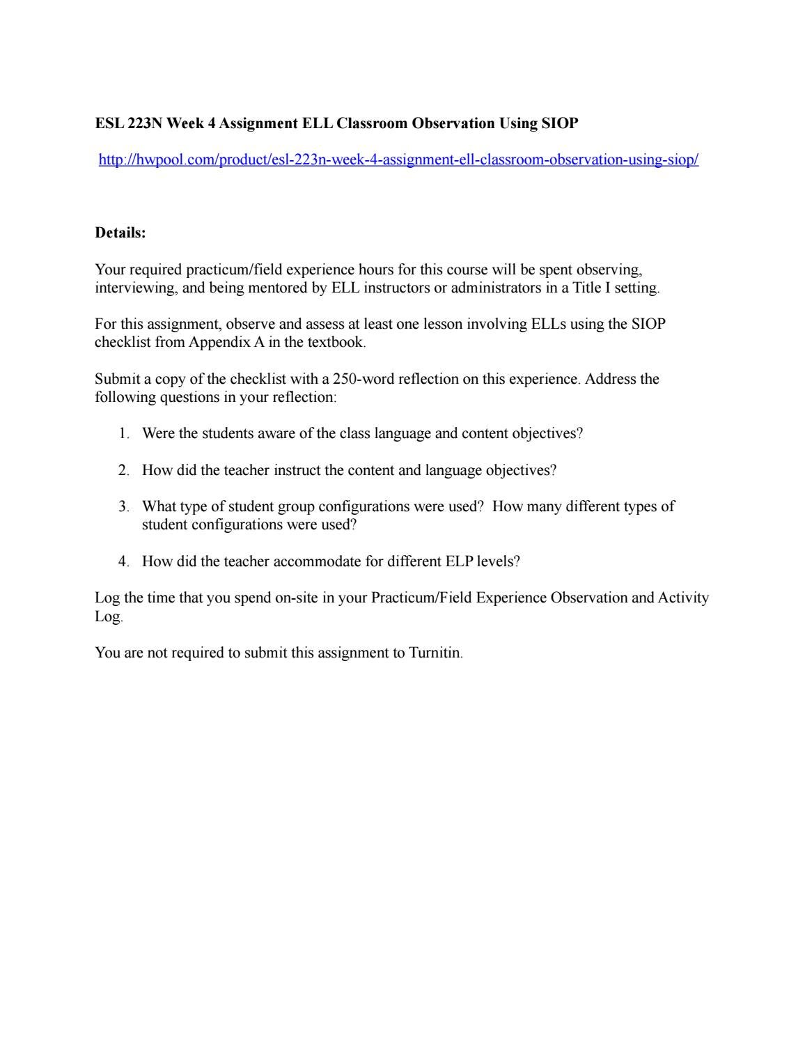 Esl 223n week 4 assignment ell classroom observation using