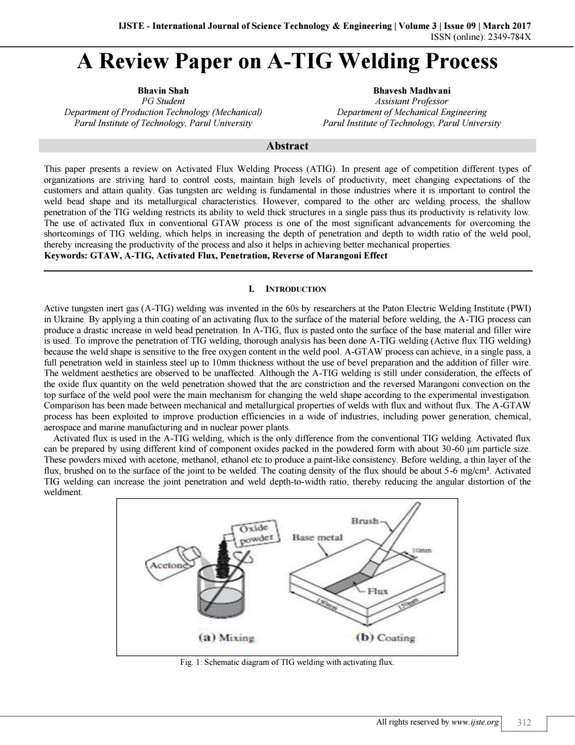 A Review Paper On Tig Welding Process By International Journal Of Diagram Science Technology And Engineering Issuu