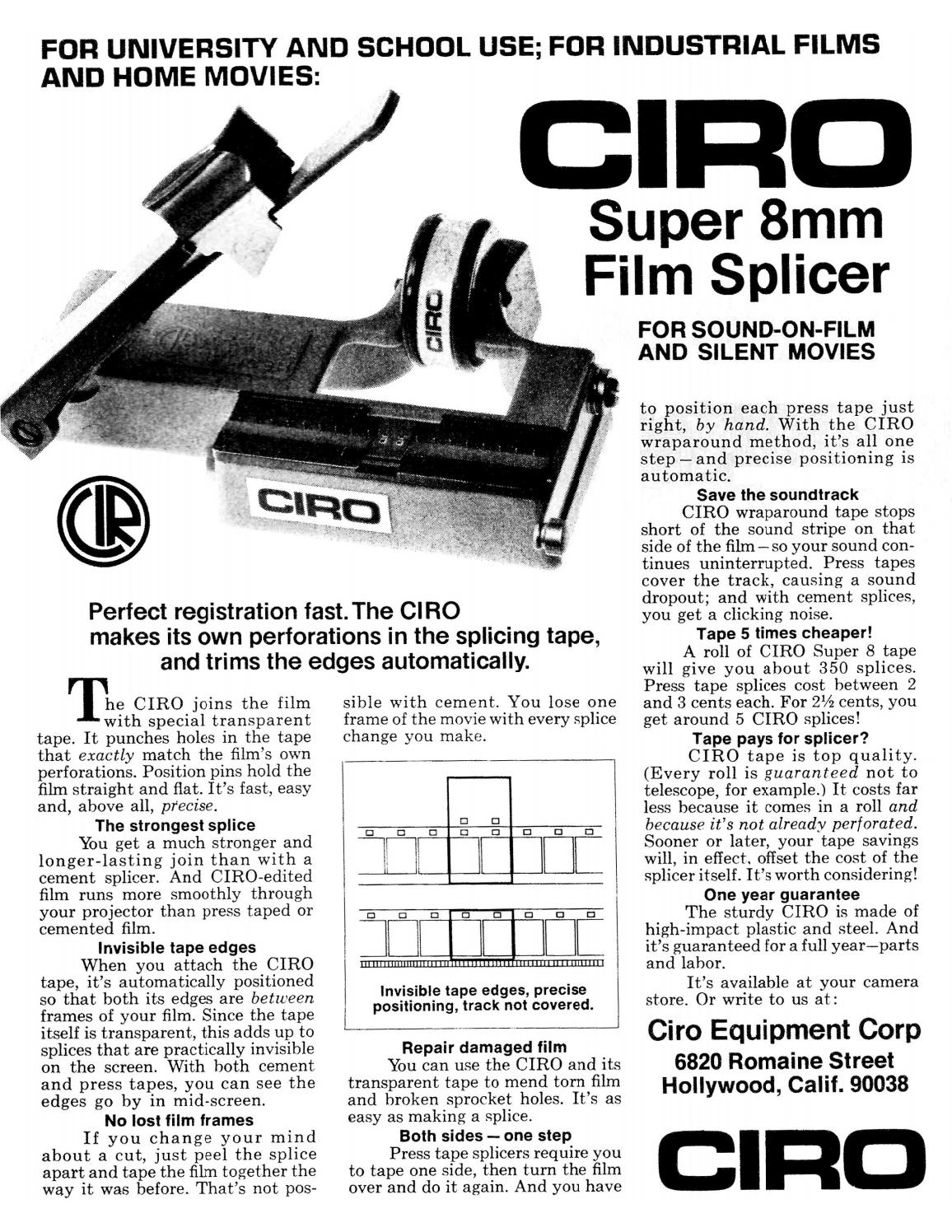 Ciro Super 8mm Film Splicer Quick Instructions 3 Pages by