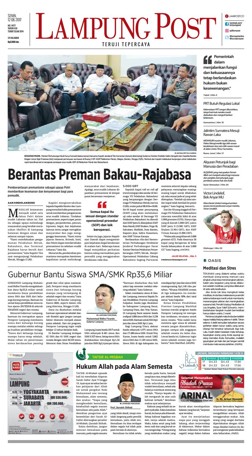 Lampung Post Senin 12 Juni 2017 By Issuu Kopibubuk Robusta Toko Rezeki Akumandiri Malang