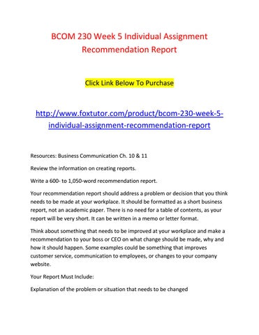Bcom 230 week 5 individual assignment recommendation report by