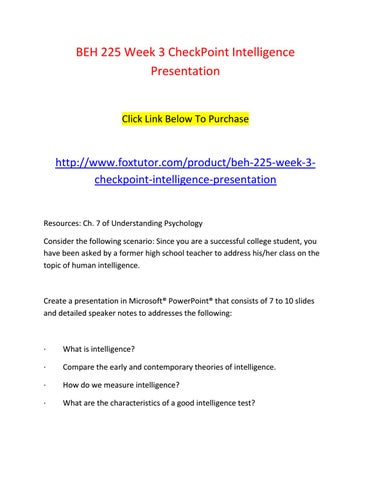 Beh 225 week 3 checkpoint intelligence presentation by