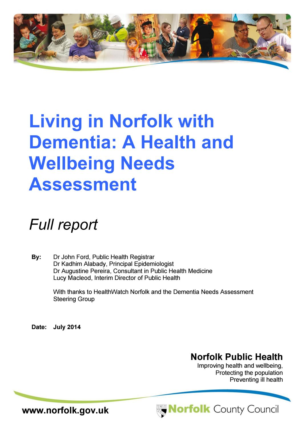 Dementia Needs Assessment For Norfolk By Dr John Ford Dr Kadhim
