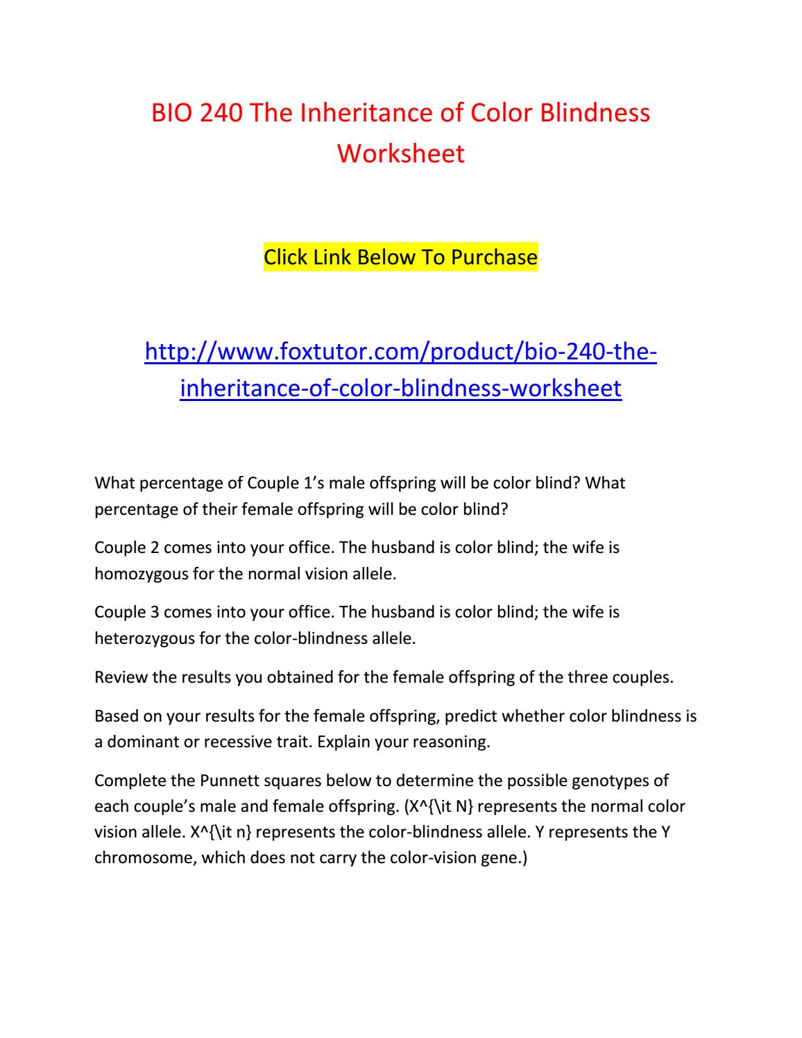 Bio 240 the inheritance of color blindness worksheet by bio240ft