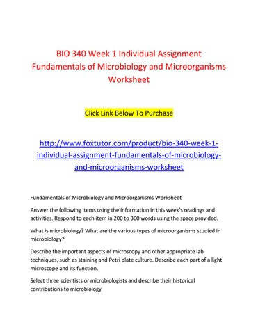 Bio 340 all assignments by bio340ft - issuu