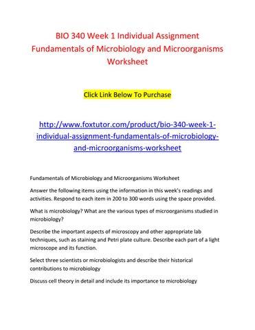 Bio 340 week 1 individual assignment fundamentals of microbiology ...
