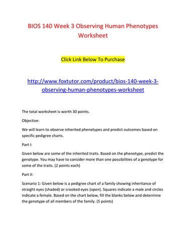 Bios 140 week 3 observing human phenotypes worksheet by bios140ft ...