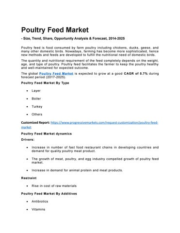 Global Poultry Feed Market Organic Chicken Feed Industry Animal