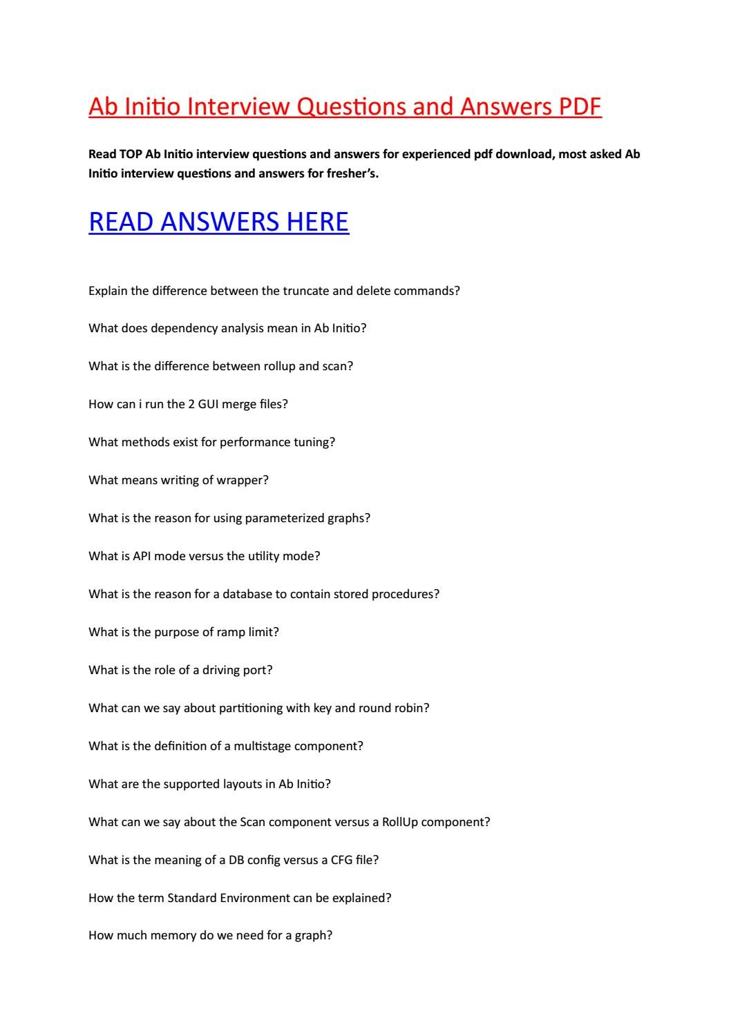 25 Ab-initio Interview Questions and Answers PDF [UPDATED ...