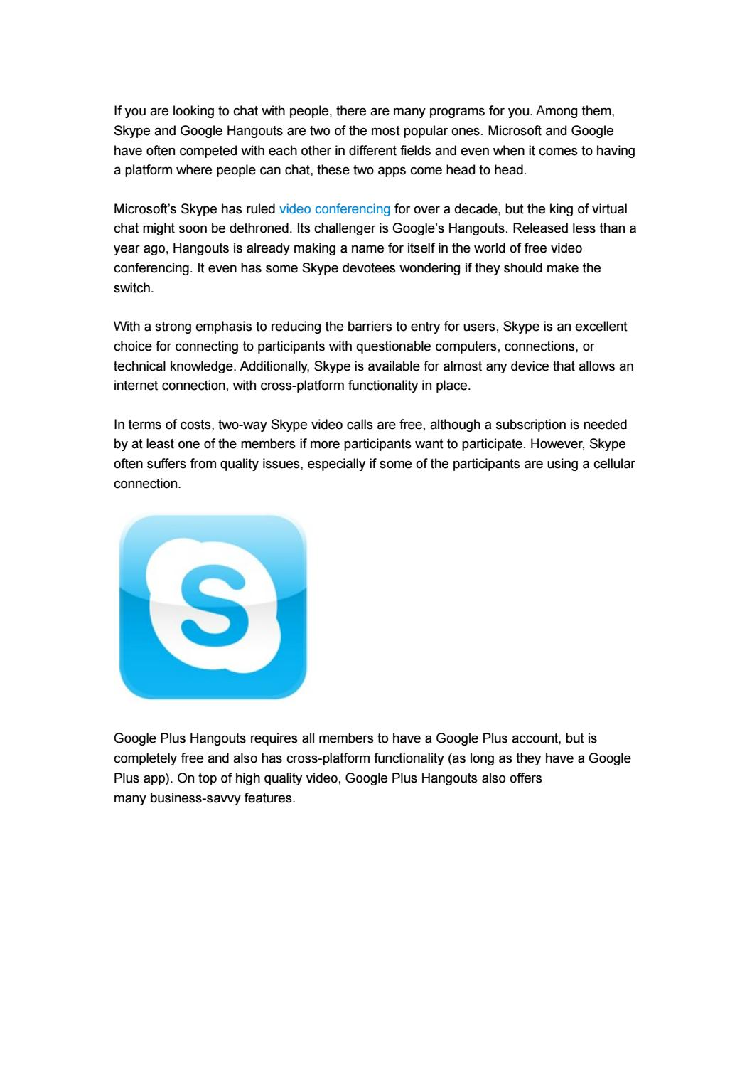 Skype or Google Hangouts, Which One Is Better? by ezTalks - issuu
