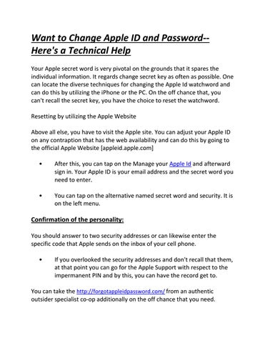 Want to Change Apple ID and Password--Here's a Technical Help by
