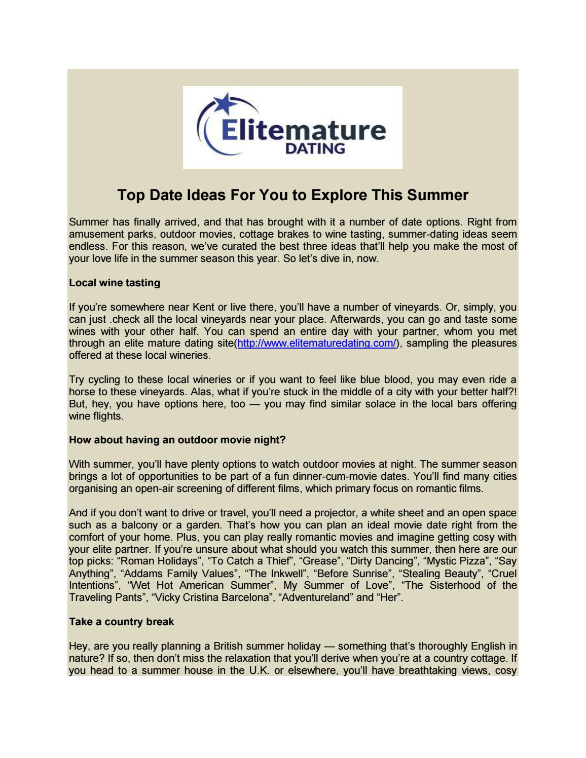 top date ideas for you to explore this summer by elitematuredating