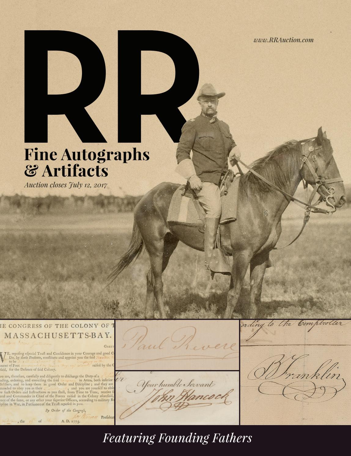 Rr Autograph Auctions Consignment Agreement: RR Auction: July 2017 Fine Autograph And Artifact Auction