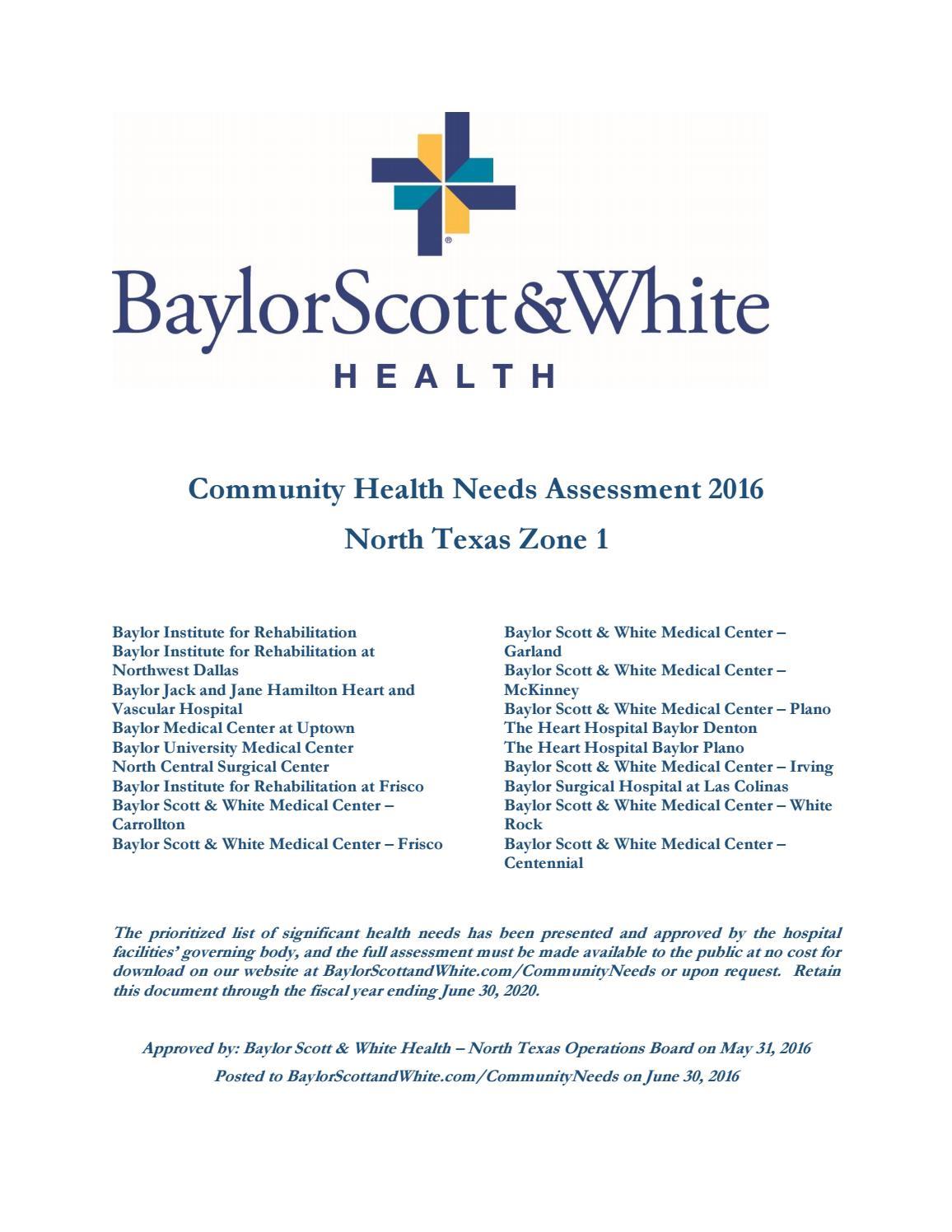 Chna 2016 baylor university mc by Texas Health Improvement