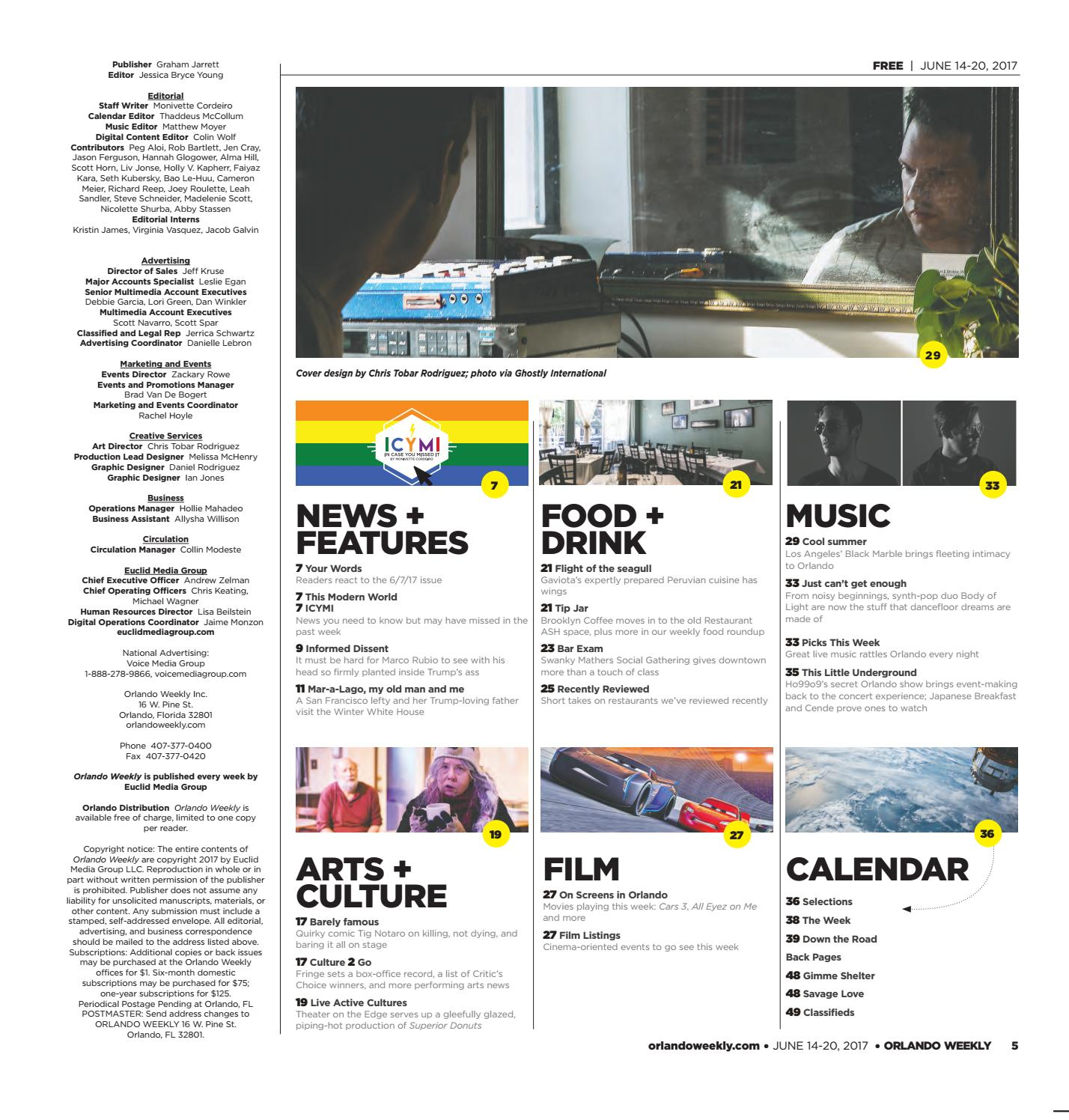 Orlando Weekly June 14 2017 by Euclid Media Group - issuu
