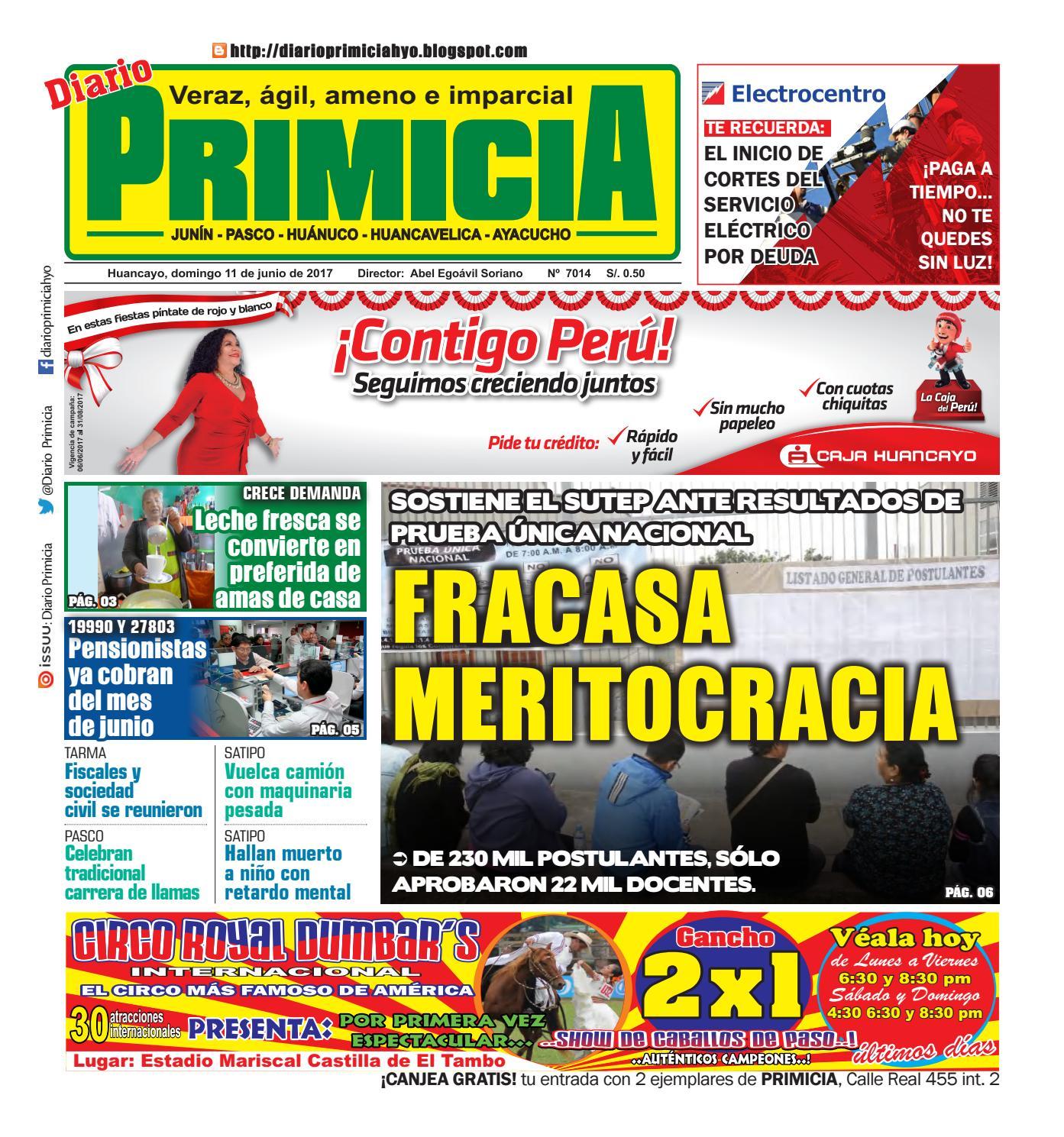Diario Primicia Huancayo 11/06/17 by Diario PRIMICIA - issuu