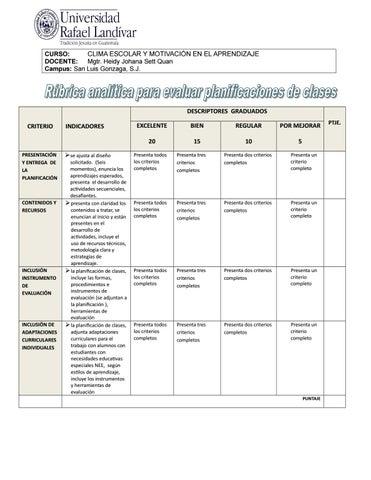 Rúbrica para evaluar planificaciones de clases microcurso