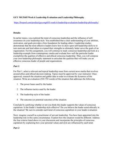 Gcu Mgt605 Week 6 Leadership Evaluation And Leadership Philosophy By