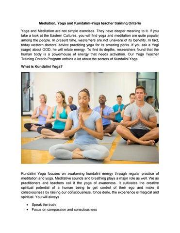 Mediation Yoga And Kundalini Yoga Teacher Training Ontario By Yogatogo Issuu