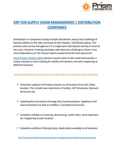 A PDF about ERP FOR SUPPLY CHAIN MANAGEMENT / DISTRIBUTION