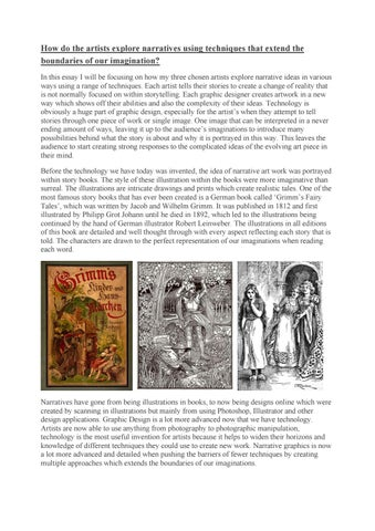 English Essays Book How Do The Artists Explore Narratives Using Techniques That Extend The  Boundaries Of Our Imagination In This Essay I Will Be Focusing On How My  Three  Library Essay In English also Sample Apa Essay Paper Narrative Graphics Essay By Claire  Issuu Good Science Essay Topics